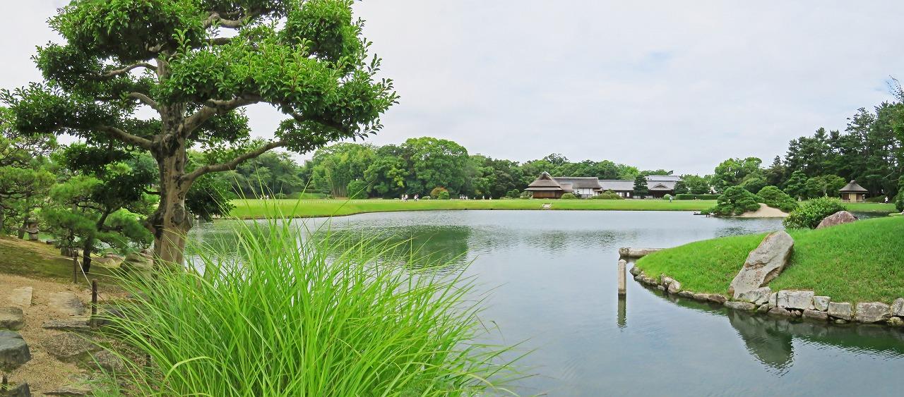 s-20150712 後楽園今日の園内沢の池島茶屋から眺めたワイド風景 (1)