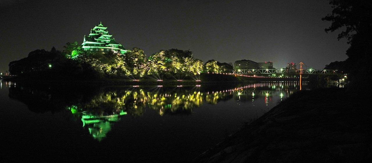 s-20150802 烏城灯源郷の旭川水辺の回廊の夜の様子ワイド風景 (1)