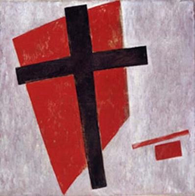黒い十字架のあるスプレマティズムのコンポジション