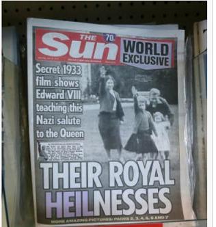 20150719幼少期英女王ナチス式敬礼