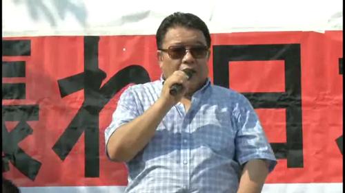 安保法制賛成デモ 水島総 ガンバレ日