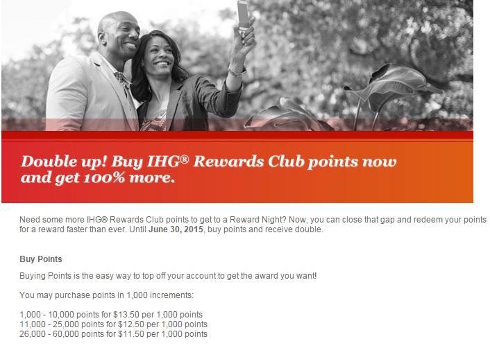 IHGリワードクラブ ポイント購入&ギフトで100%のボーナスポイント