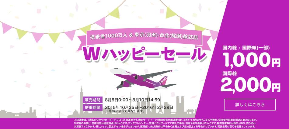 ピーチ、「Wハッピーセール」を8日深夜0時から開催!搭乗者1,000万人達成&羽田-台北線就航記念で片道1,000円から!