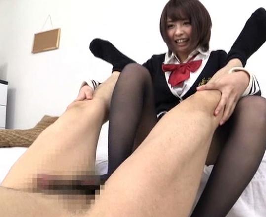 女子校生の黒パンストで拘束太腿コキされ大量脚射の脚フェチDVD画像5