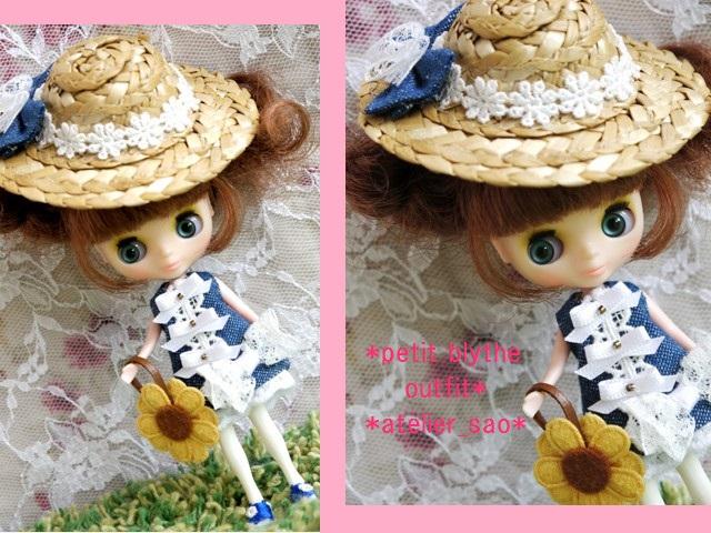 ◆プチブライス服◆デニムと白レースの夏ワンピ◇1
