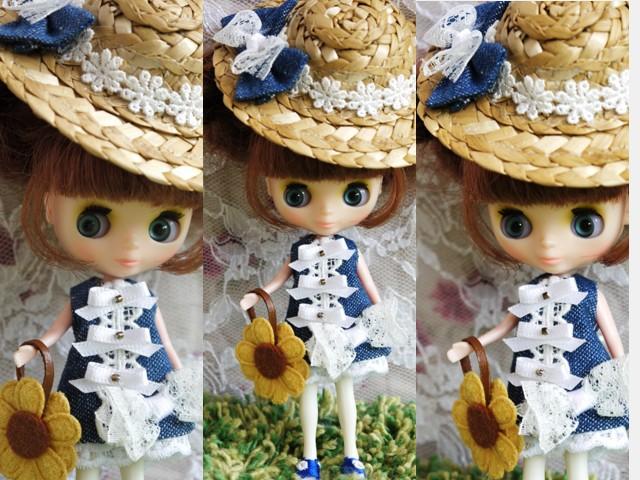 ◆プチブライス服◆デニムと白レースの夏ワンピ◇2
