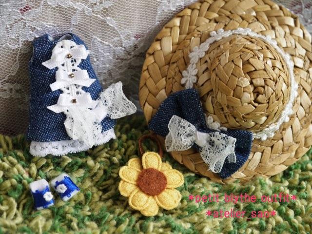 ◆プチブライス服◆デニムと白レースの夏ワンピ◇3
