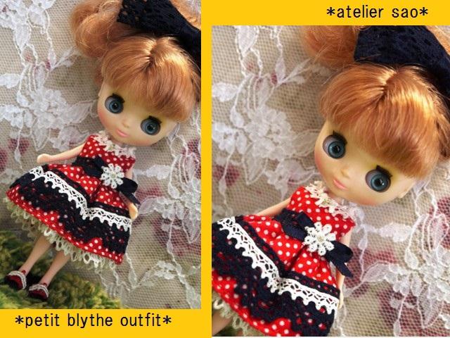 ◆プチブライス服◆ネイビー×赤水玉ドレス◇1