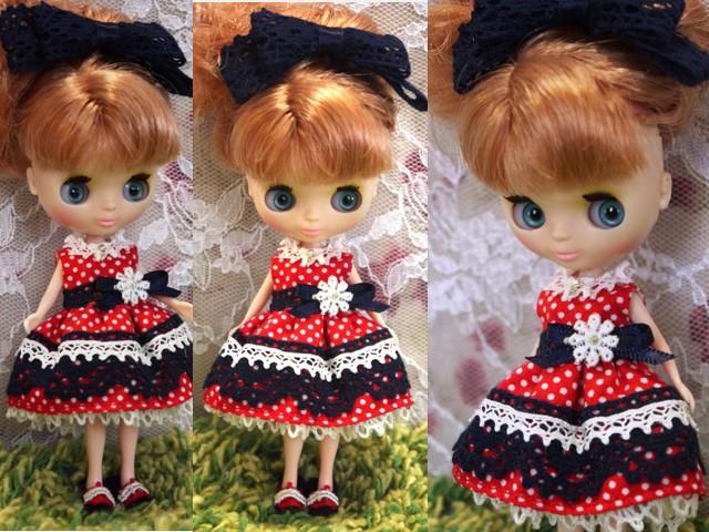 ◆プチブライス服◆ネイビー×赤水玉ドレス◇2