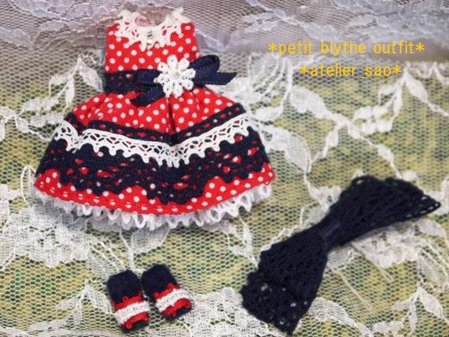 ◆プチブライス服◆ネイビー×赤水玉ドレス◇3
