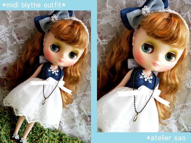 ◆ミディブライス服靴◆デニムと白レースの夏ドレス◇1