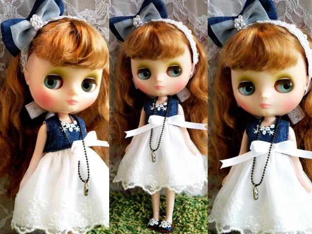 ◆ミディブライス服靴◆デニムと白レースの夏ドレス◇2