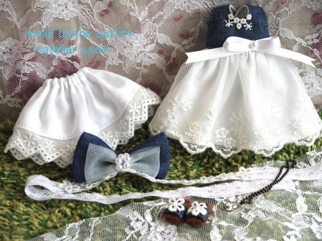 ◆ミディブライス服靴◆デニムと白レースの夏ドレス◇3