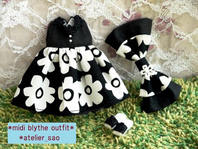 ◆ミディブライス服靴◆モノトーン花柄サマードレス◇ 3