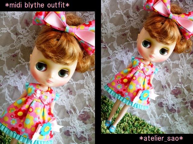 ◆ミディブライス服◆カラフルポップな花柄ドレス★ピンク◇ 1