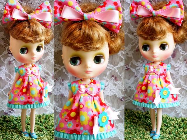 ◆ミディブライス服◆カラフルポップな花柄ドレス★ピンク◇ 2