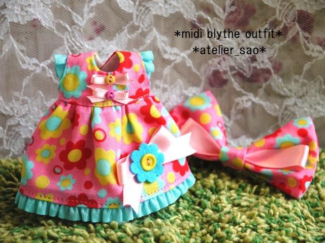 ◆ミディブライス服◆カラフルポップな花柄ドレス★ピンク◇ 3