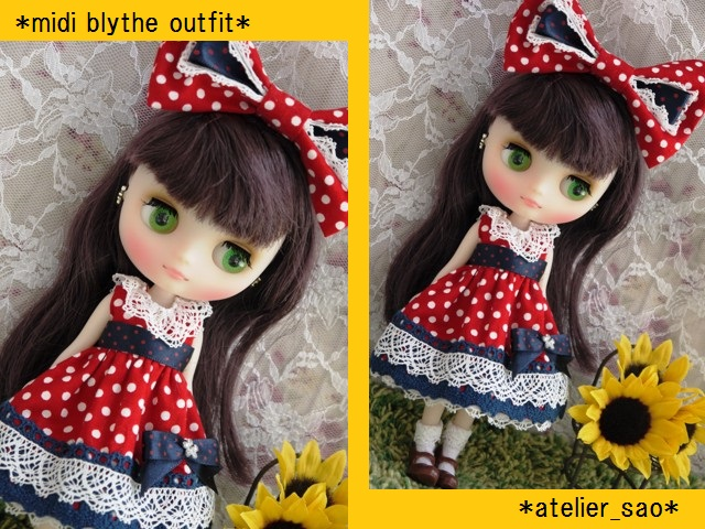 ◆ミディブライス服◆ネイビー×赤水玉ドレス◇1