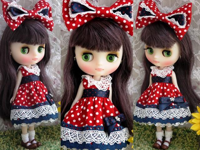 ◆ミディブライス服◆ネイビー×赤水玉ドレス◇2