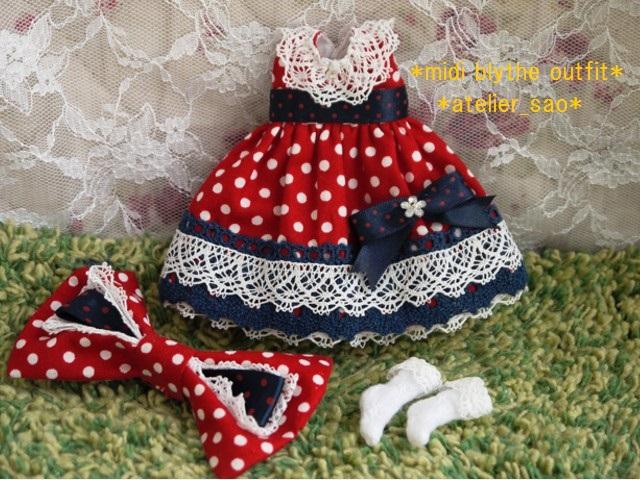 ◆ミディブライス服◆ネイビー×赤水玉ドレス◇3