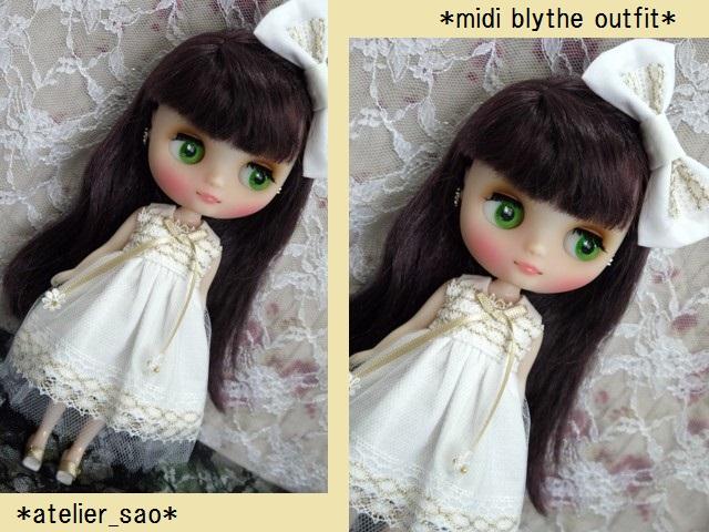 ◆ミディブライス服◆金レースのホワイトサマードレス◇1