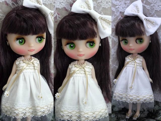 ◆ミディブライス服◆金レースのホワイトサマードレス◇2