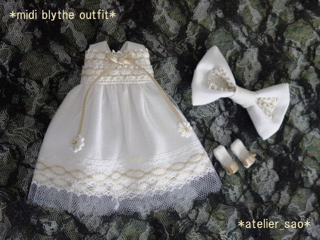 ◆ミディブライス服◆金レースのホワイトサマードレス◇3
