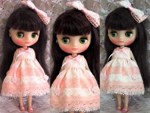◆ミディブライス服◆ピンクと白レースのサマードレス◇2
