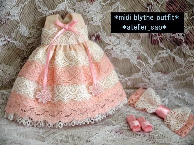 ◆ミディブライス服◆ピンクと白レースのサマードレス◇3