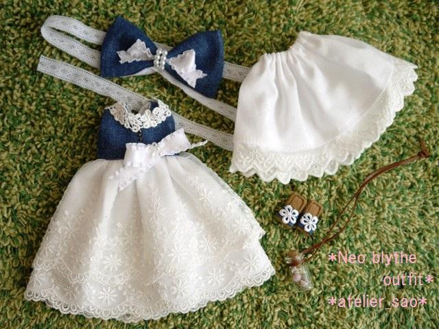 ◆ネオブライス服・靴◆デニムと白レースのドレス◇3