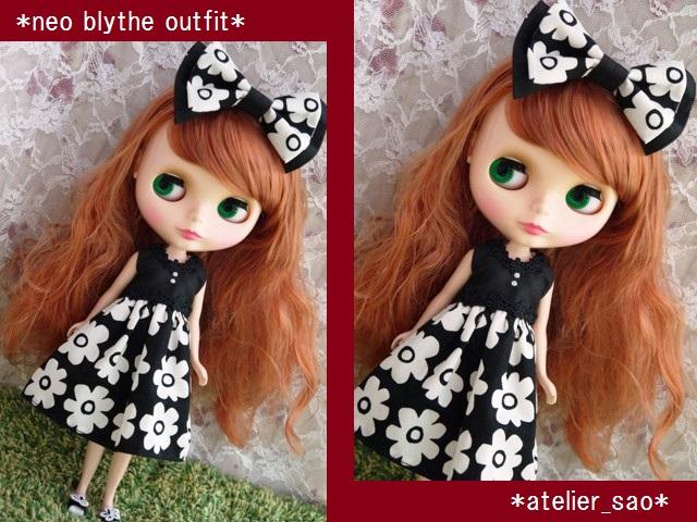 ◆ネオブライス服・靴◆モノトーン花柄サマードレス◇1