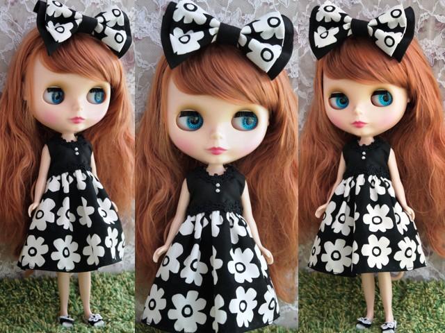 ◆ネオブライス服・靴◆モノトーン花柄サマードレス◇2