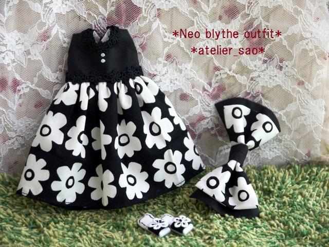 ◆ネオブライス服・靴◆モノトーン花柄サマードレス◇3