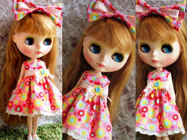 ◆ネオブライス服◆カラフルポップな花柄ドレス★ピンク◇ 2