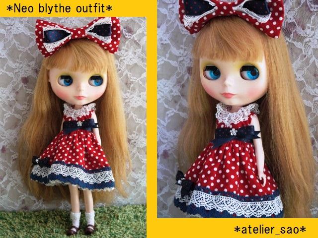◆ネオブライス服◆ネイビー×赤水玉ドレス◇1