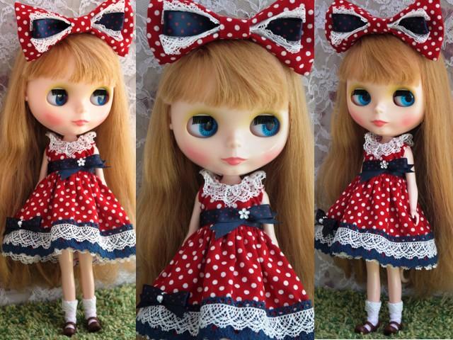 ◆ネオブライス服◆ネイビー×赤水玉ドレス◇2