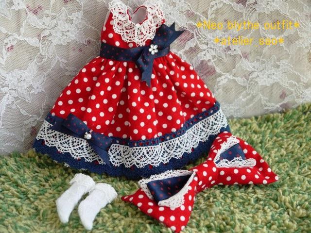 ◆ネオブライス服◆ネイビー×赤水玉ドレス◇3