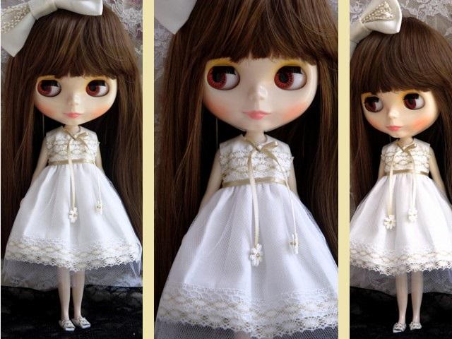 ◆ネオブライス服◆金レースのホワイトサマードレス◇2