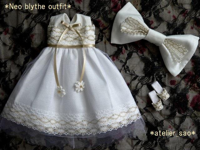 ◆ネオブライス服◆金レースのホワイトサマードレス◇3