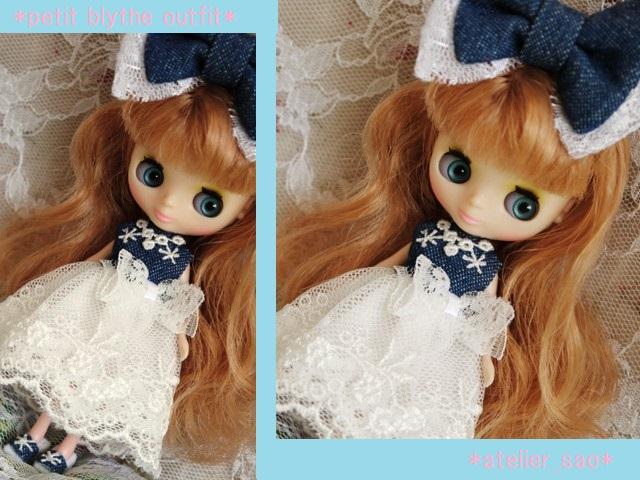◆プチブライス服・靴◆デニムと白レースの夏ドレス◇1