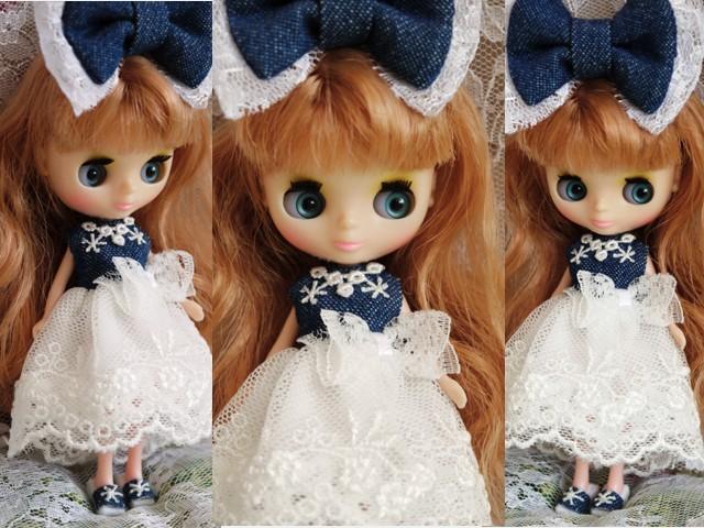 ◆プチブライス服・靴◆デニムと白レースの夏ドレス◇2