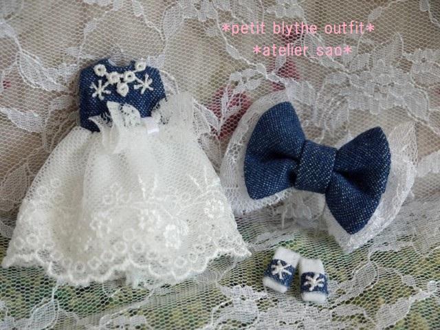 ◆プチブライス服・靴◆デニムと白レースの夏ドレス◇3