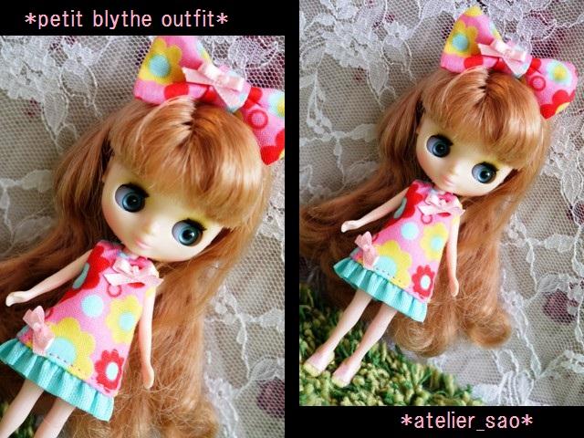 ◆プチブライス服◆カラフルポップな花柄ワンピ★ピンク◇1