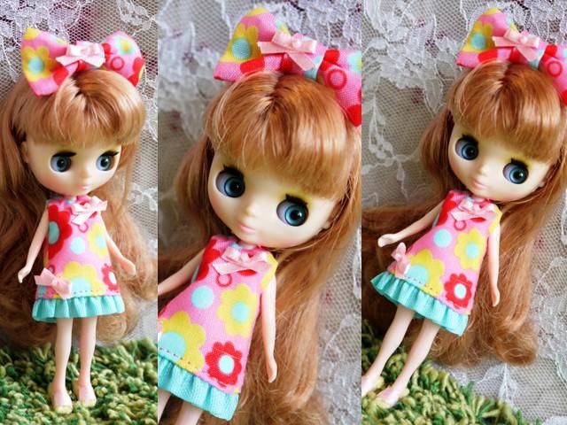 ◆プチブライス服◆カラフルポップな花柄ワンピ★ピンク◇2