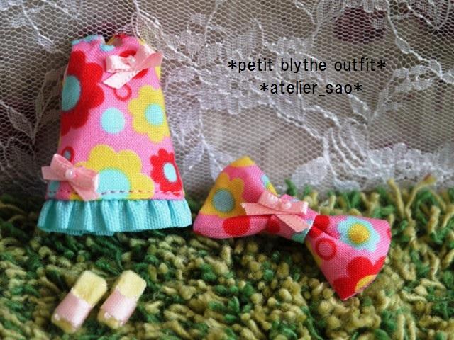 ◆プチブライス服◆カラフルポップな花柄ワンピ★ピンク◇3