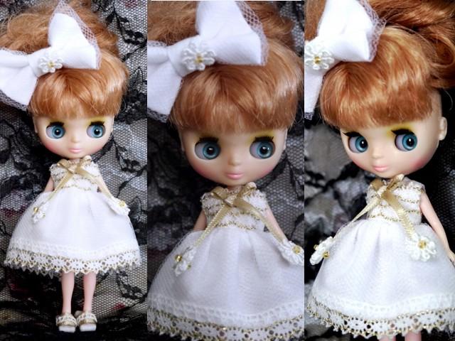 ◆プチブライス服◆金レースとホワイトサマードレス◇ 2