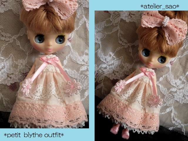 ◆プチブライス服◆ピンクと白レースのサマードレス◇ 1