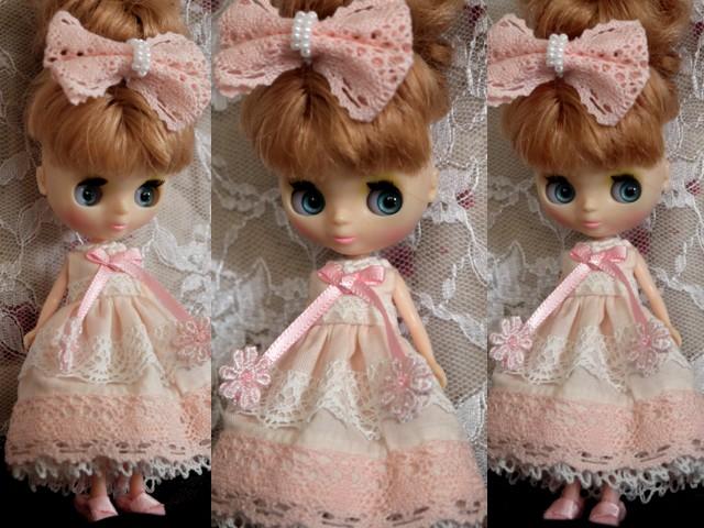 ◆プチブライス服◆ピンクと白レースのサマードレス◇ 2