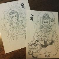 文殊菩薩と不動明王 仏イラスト