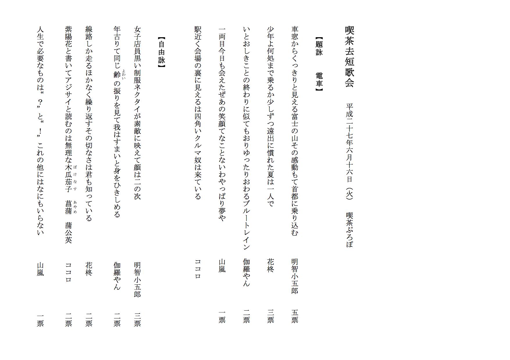 01506 喫茶去短歌会  平成二十七年六月十六日(火) 喫茶ぷろぽ